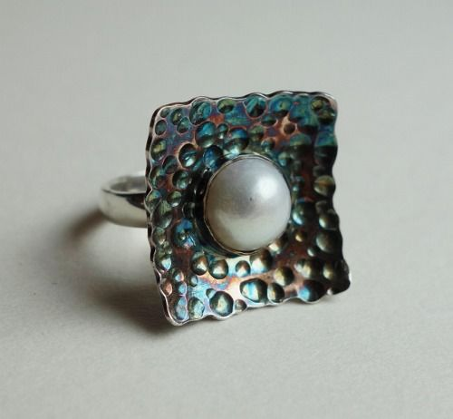 Coloured sterling silver ring with natural cultured pearl  Design&Handmade by K.Tokar