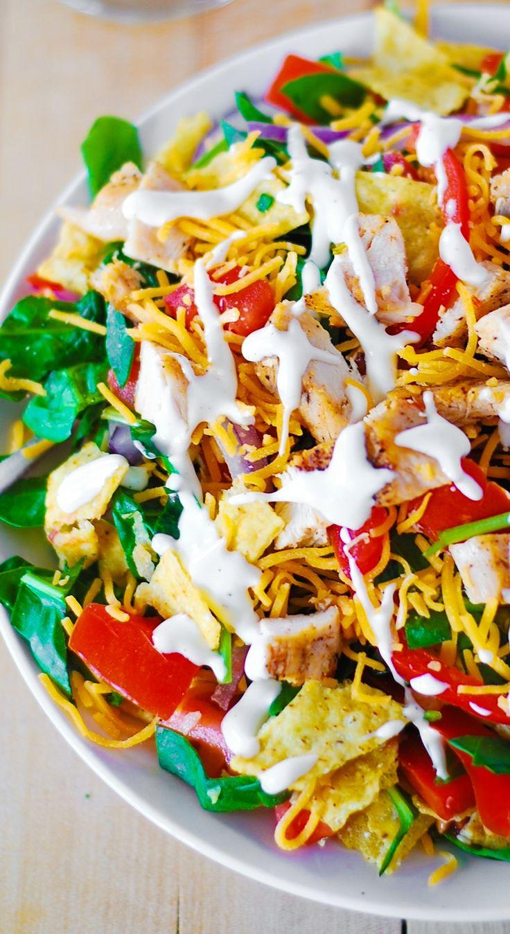 Chicken taco salad (with Ranch dressing, or a healthier, Greek Yogurt based salad dressing)