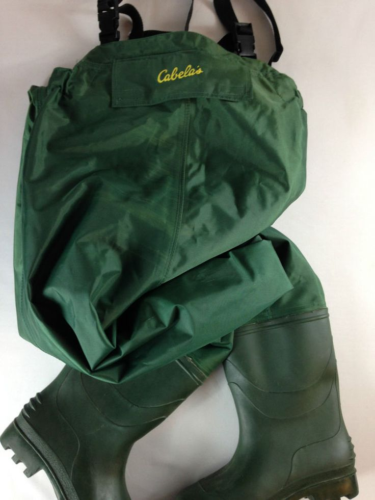 Cabelas chest high green waders fishing sz 9 overalls for Cabelas fishing waders