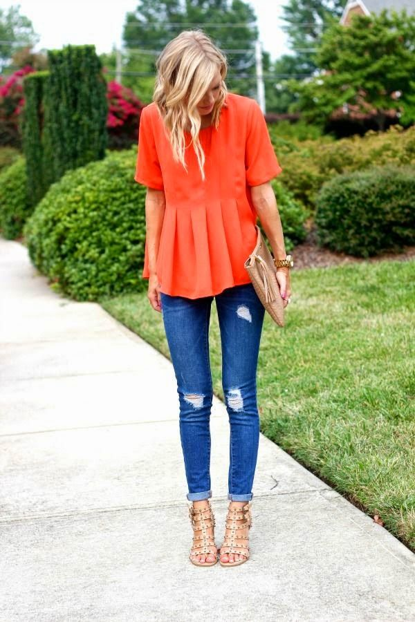 The Rooftop Blog: Spring 2015 Colors: Orange / Date outfit / orange outfit / Skinny Jeans / Semi casual outfit / Summer colors