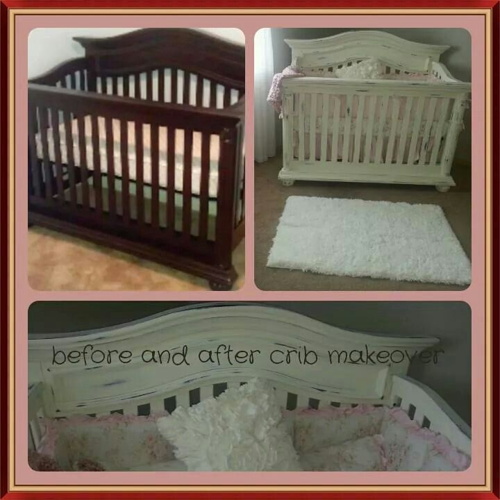 Chalk paint crib makeover.