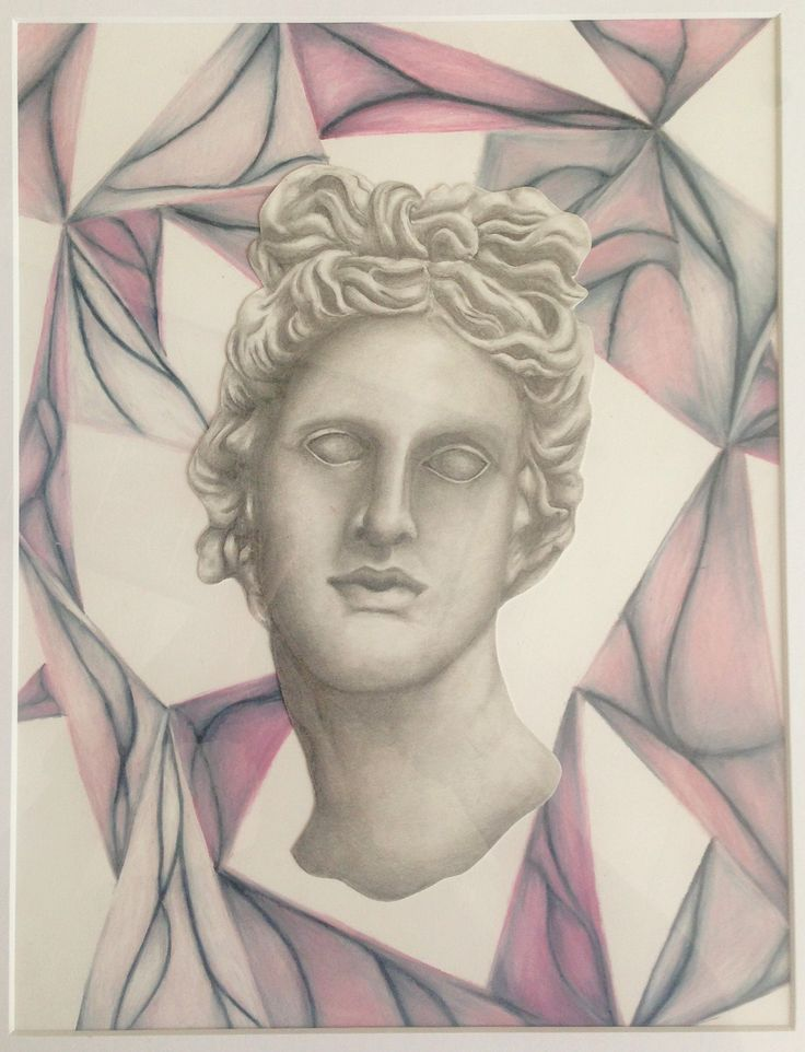 This 9th grade female student from Fort Myers, Florida expressed an interest in Roman sculpture. She invented her own rubbing technique using white colored pencil, an eraser and pastel to the background and then used her exploration of Roman and Greek art to create a realistic 2D pencil drawing of a sculpture.