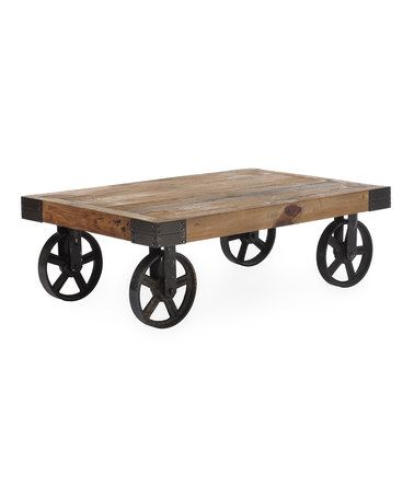 Look at this #zulilyfind! Distressed Natural Barbary Coast Cart Table #zulilyfinds
