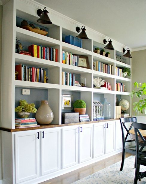 i like the look of these built in shelves with cabinets Microwave Cabinet with Shelves built in bookshelves with cabinets