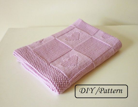 Do knit Yourself! Lovely baby blanket Charlotte pattern with little hearts. This blanket is knitted in one piece and it is reversible as it is knitted in knit and in purl stitches. Made by you and with love - it will be a perfect gift to your friends baby ! ♥ This listing is an