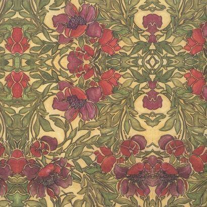 Art Nouveau Anemone Floral Print Italian Paper ~ Leonardo Communication