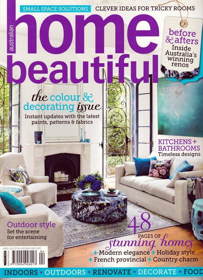 EDIT 'Trees' Blue ottoman, 'Trees' pixel cushion and 'Hydrangeas' sepia cushion featured on the cover of Home Beautiful April 2012 issue.