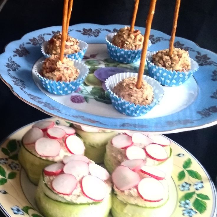 Cheese bites with cranberry and pecans. Tuna cake sandwiches.