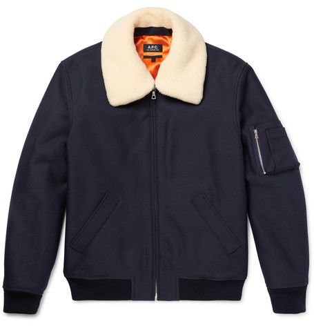A.P.C.'s gorgeous Manchester Faux Shearling-Trimmed bomber #UKGiftGuide2017
