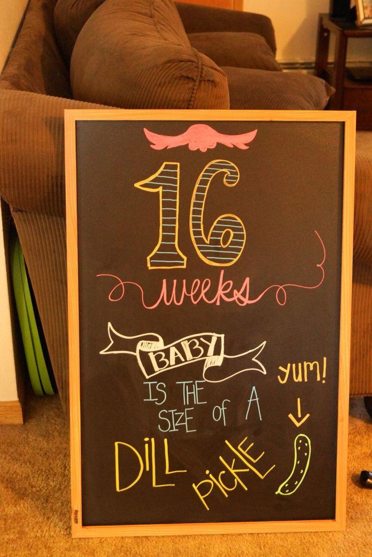 16 weeks pregnancy chalkboard