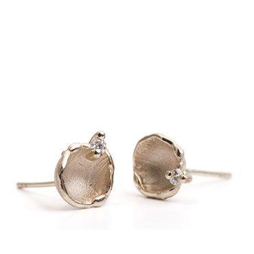 Earrings white gold with diamond | Wim Meeussen