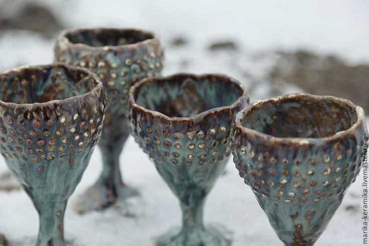 Купить Бокал для вина Исландия - бирюзовый, Керамика, фактура, посуда…