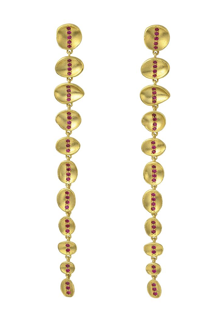 Wright & Teague: Gemfields Mozambican Ruby And Gold Earrings