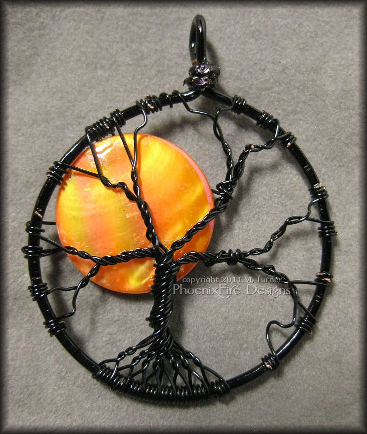 wire tree and shell moon necklace