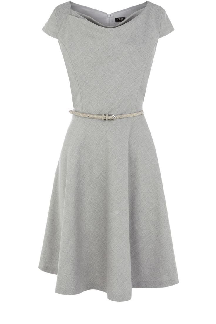 Light Grey Cowl Neck Belted Dress, Oasis $115  I'd wear it with a colorful belt and shoes though