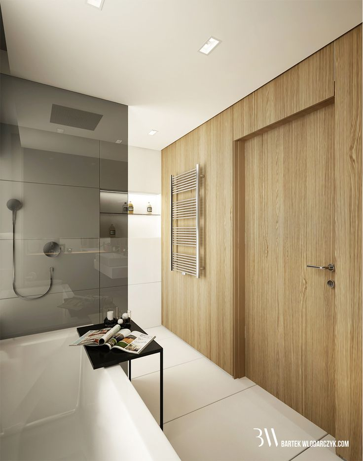Łazienka z płytkami podłogowymi Block White firmy Marazzi, fornirowaną zabudową ścienną