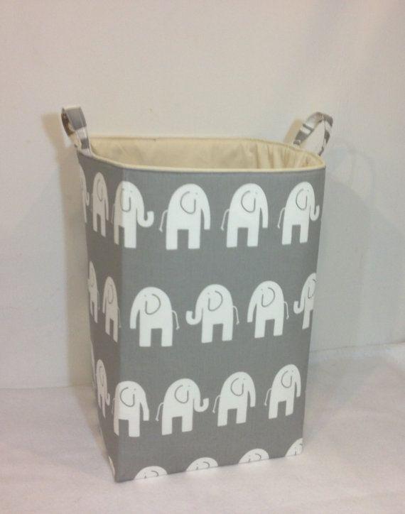 Customize XXL Hamper Toy Bin Laundry Basket Fabric Storage Bin Organizer  White Elephant /Grey With Cream Lining