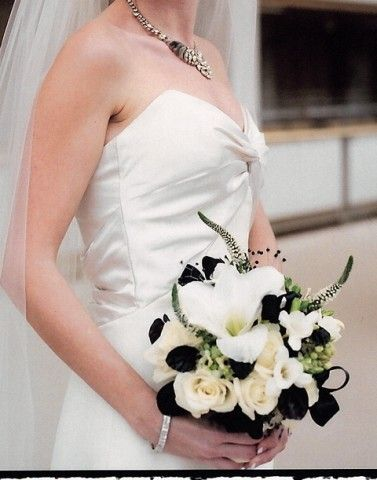 black and white reception wedding flowers,  wedding decor, wedding flower centerpiece, wedding flower arrangement, add pic source on comment and we will update it. www.myfloweraffair.com can create this beautiful wedding flower look.