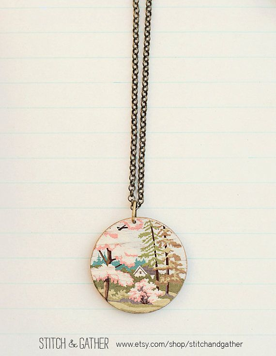 Spring landscape Necklace by StitchandGather on Etsy, $25.00