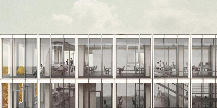 MODULAR OFFICE BUILDING - zablotnytomasz | portfolio tomasz zablotny architecture modular timber interior gdansk shipyard rendering illustration