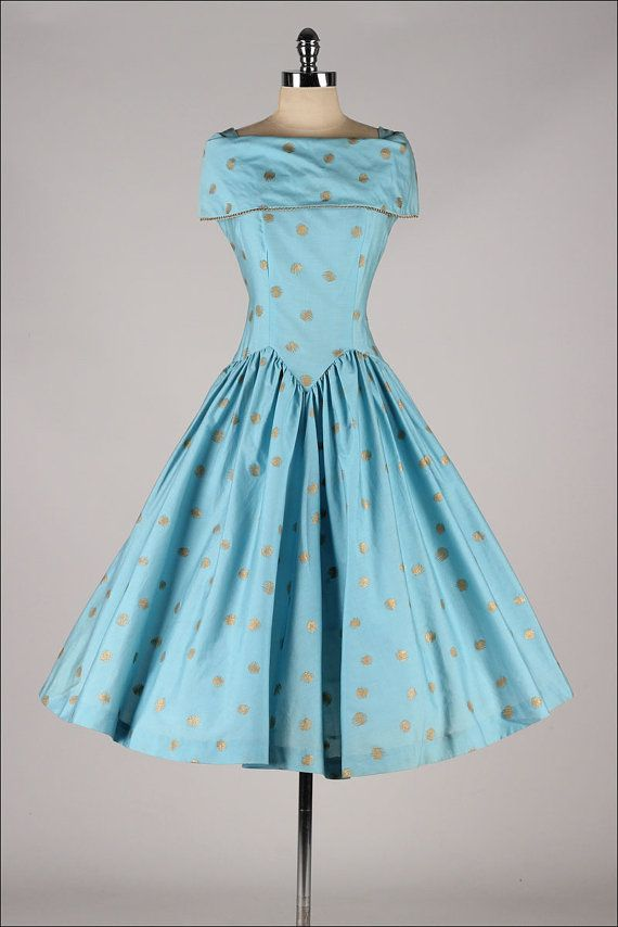 vintage 1950s dress . turquoise cotton . gold by millstreetvintage