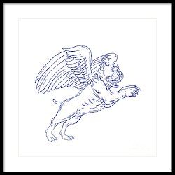 American Bully With Wings Drawing Framed Print by Aloysius Patrimonio
