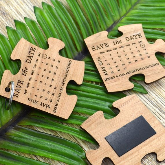 save the date jigsaw puzzle piece fridge magnets, 50 x Engraved Wooden Puzzle Save The Date by PersonalisedFavours