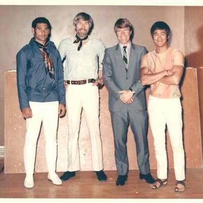 Bruce Lee, Chuck Norris, James Coburn and friend.
