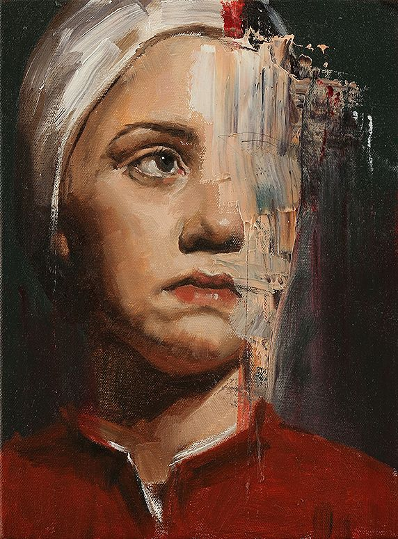 Artist: Adam Caldwell, oil on canvas {contemporary female head woman partial abstract face portrait painting} Metamorphosis !!