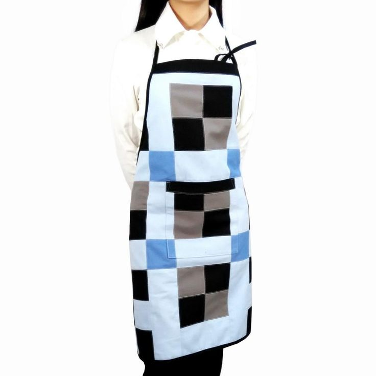 [Simple Design] Patchwork Chef Work Apron Durable Women Men Apron with Pocket