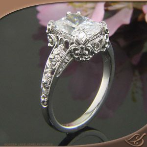 Design Your Own Ring, Unique Engagement Rings and Wedding Bands, Custom Jewelry Beautiful Antique style Floral Engagement ring