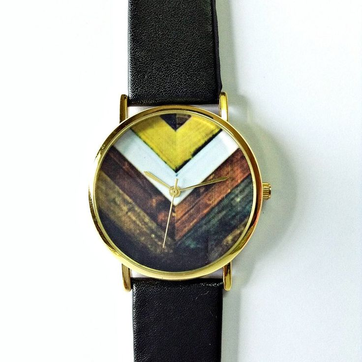 Wood Chevron Watch Vintage Style Leather Watch Women by FreeForme, $10.00