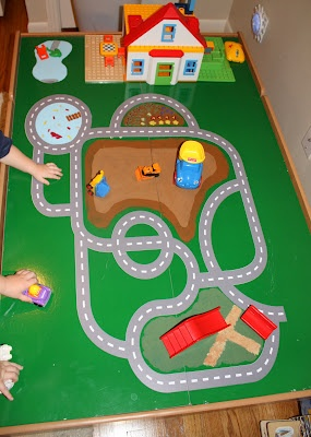 Train Table Turned Road/construction Site. I Would Even Use Chalkboard  Paint On The