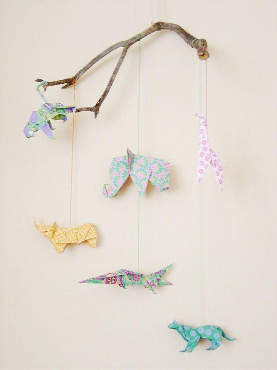 Mobile origami animals. AFRICAN LANDSCAPE.. €39,50, via Etsy.