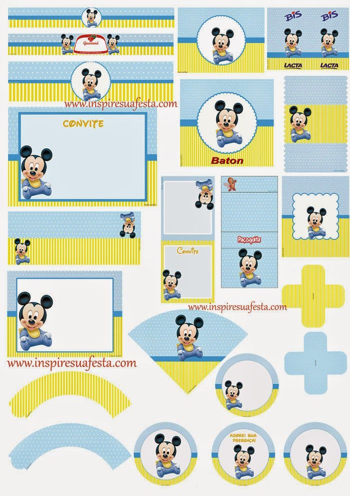 Mickey Baby Free Printable Kit.                              …