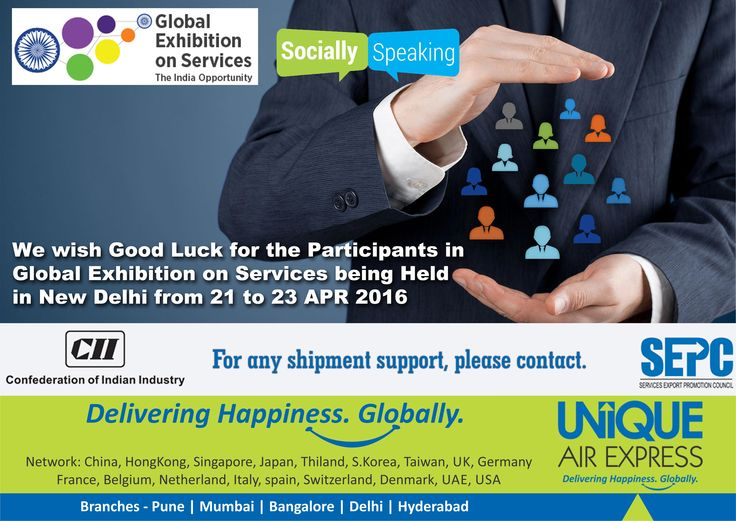 We wish Good Luck for the companies participating in Global Exhibition on Services, Delhi from 21st to 23rd Apr. 2016. Confederation of Indian Industry, Services export promotion council(sepc)-India, Ministry of Commerce and Industry