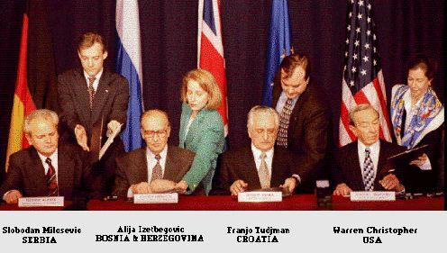 November 21, 1995 - FR President Slobodan Milošević, Croatian President Franjo Tuđman and Bosnia & Herzegovina President Alija Izetbegović signed the General Framework Agreement for Peace in Bosnia and Herzegovina (Dayton Agreement), thereby concluding a 20 day long peace conference led by US Secretary of State Warren Christopher. The treaty ended the three and a half-year long Bosnian War and was formally ratified on December 14, 1995. #history #Bosnia