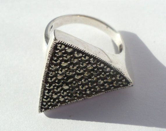 Sterling silver triangle marcasite ring  pyrite by zuzuJewelry on etsy.com