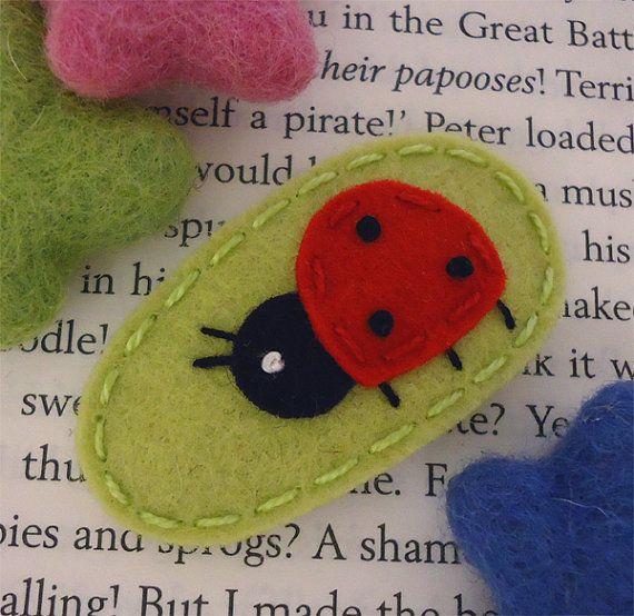 NO SLIP Wool felt hair clip Ladybird mini pear by MayCrimson
