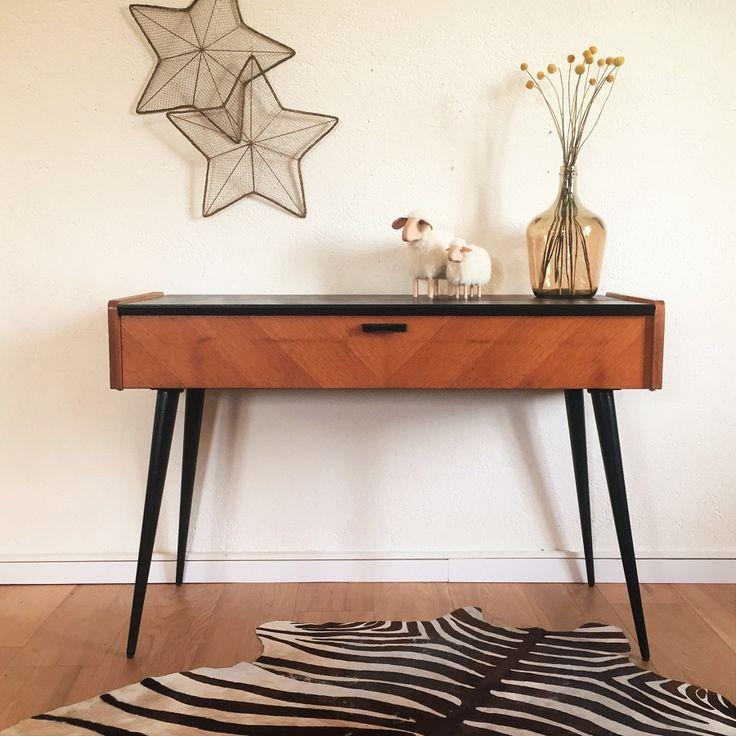 Console bureau vintage, pieds compas, bois, rénové - Mid century modern desk, console table, black