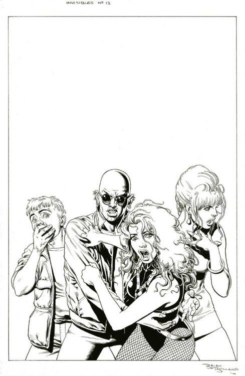 Original and final covers by Brian Bolland from The Invisibles...  Original and final covers by Brian Bolland from The Invisibles vol. 2 #13 published by DC Comics Vertigo February 1998.