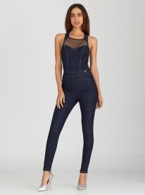 SISSY BOY Denim Jumpsuit with Mesh Dark Blue