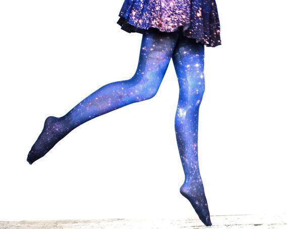 Galaxy Tights Magellanic Cloud Nebula Space Sheer Leggings.
