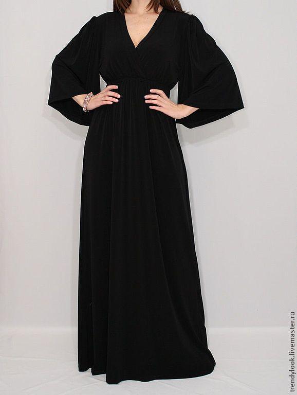Купить Длинное Платье кимоно черное платье в пол - чёрный, женская одежда, летнее платье