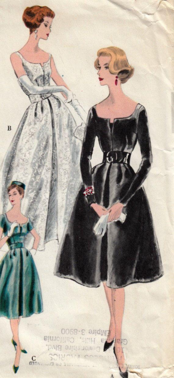 Late jaren 1950 jurk of avondjurk & Petticoat patroon VOGUE 4065 omstreeks 1959 omvat geweven VOGUE speciale Design Label Mad Men buste 34