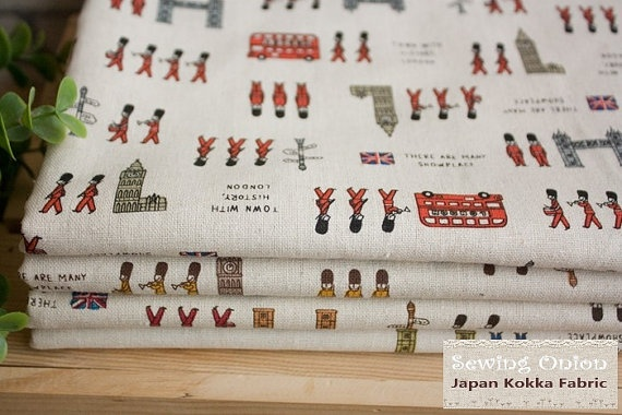 Japanese Kokka Fabric  London Soldier Linen Red by sewinggarlic, $5.50