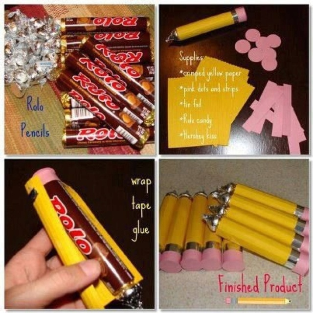Gift idea for a teacher or kidsTeacher Gifts, Back To Schools, Teachers Gift, Gift Ideas, Cute Ideas, Schools Treats, Kids, Rolo Pencil, Crafts