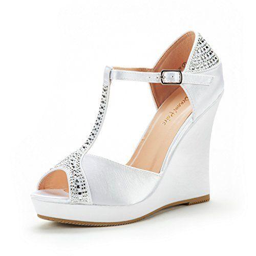 a2f01d5dcdd DREAM PAIRS Women s Angeline-02 White Satin Fashion Dress Wedges Platform  Heel Peep Toe Wedding Pumps Sandals Size 9 M US