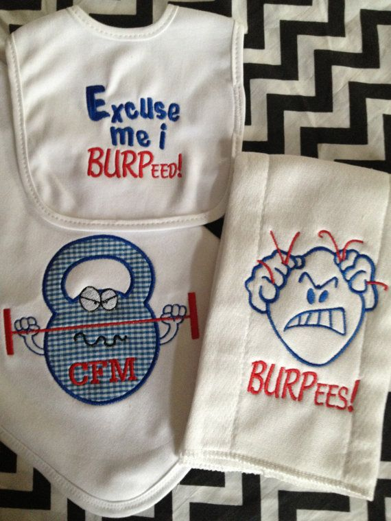 Kettlebell Crossfit Baby Receiving Blanket Burp by iamcollection2, $34.00