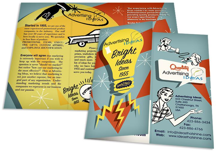 Graphic, bold colors. 1950's Inspired Tri-fold Brochure.